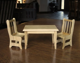 Dollhouse Kitchen Table & Two 2 Chairs,Natural,Wood,Wooden Dollhouse Kitchen Table, Chairs, Furniture, Miniature, Doll House Kitchen Table