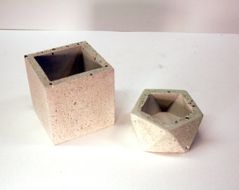 Pair of modern concrete pots for succulents, cactus, candle holders, office supplies, brushes, pens, and pencils