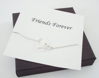 Interlocked Floating Hearts Silver Necklace ~Personalized Jewelry Gift Card for Sister, Friend, Cousin, Sister in Law, Wedding, Bridal Party