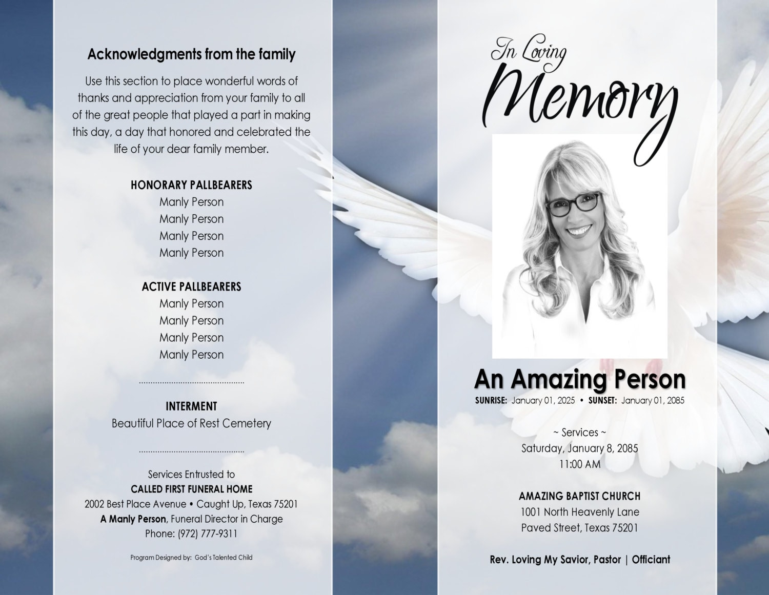 X HEAVENLY DOVE Printable Funeral Program Template Free - Free printable funeral program template