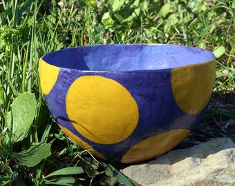 Deep Blue Papier Mache Bowl with yellow dots
