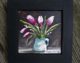 Mini oil painting/floral/flowers/tulips/4x4