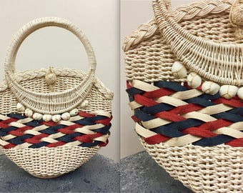 Vintage 1960s Coated Wicker Weaved Seashell Purse - Red White and Blue