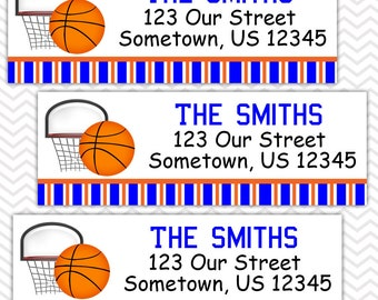 Basketball Sports - Personalized Address labels, Stickers