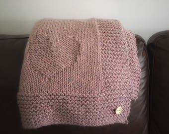 Lovely warm and cosy hand knitted wool throw/blanket.