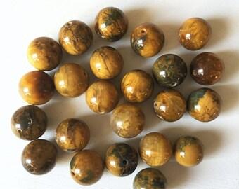 14mm Smooth Brown & Blue Tigereye Beads