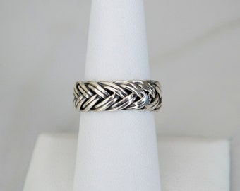 Sterling Silver Braided Band Ring for Women or Men, Oxidized Braided Band for Men or Women