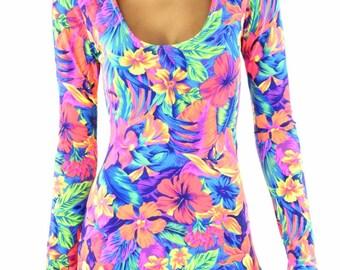 Tahiti Floral Langarm Strampler Bodysuit Onsie (ohne Kapuze) Rave Festival Clubwear 151656