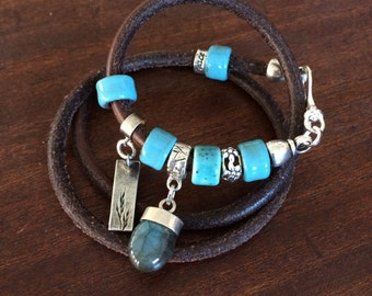 Custom Handmade Leather Wrap Bracelet With A Labradorite Cabochon and Sterling Silver RM246