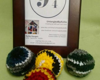 """Harry Potter colors! Adorable """"Loose Ends"""" crocheted cat toy balls with organic catnip.  Set of 4 + 1 bonus Golden Snitch!"""