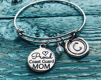 Proud, coast guard mom, Coast guard gifts, Army, Daughter, Son, Coast guard, Mom, Deployment, Mom of, Gifts, Silver Bracelet, Charm Bracelet
