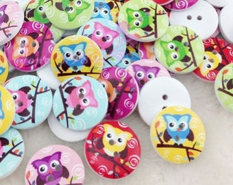 New 100pc White Print Owl Tower Wood Buttons Clothing Sewing 20 mm WB49