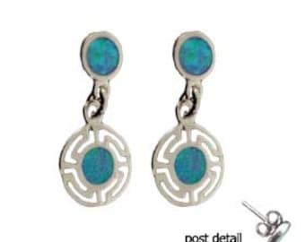 Sterling Silver Dangle Earrings - Circle Greek Key & Opal (8mm)