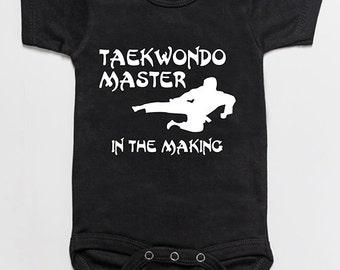 Taekwondo Master in the making baby bodysuit romper black