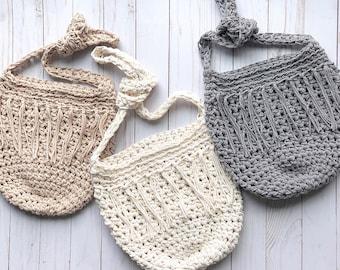 Cotton Purse | KNOTTY CROSSBODY | Boho Bag | Handmade by Little Red Knits