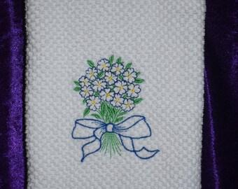 Blue boquet towel