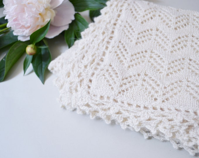 Featured listing image: Heirloom blanket in 100% baby alpaca white wool baby blanket christening blanket baptism gift knit crochet blanket girl boy baby shower gift