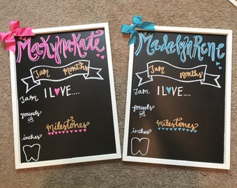 Chalkboard monthly update board re use each month for monthly picture and first birthday