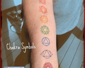 Chakra Temporary Tattoos - Matching Reiki colors - Root, Sacral, Solar Plexus, Heart, Throat, Third Eye and Crown Chakras