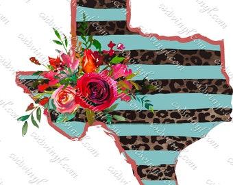 Blue Texas Sublimation Image Transfer, Cheetah Print Floral Texas Iron-On, Girly Texas Shirt Design, Cheetah Design Iron-On SUB0290