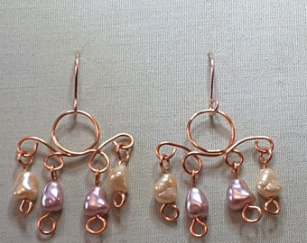 Pearly bead and copper chandelier dangle earrings