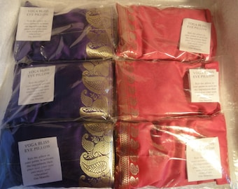 6 x YOGA EYE PILLOWS  in Gold Pink & Purple colours for relaxation  therapy and bliss.