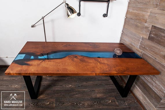 Table Wood Epoxy Slab Table Live Edge Table Dining Wood