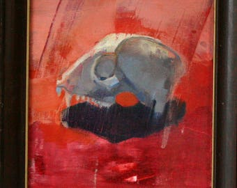Original Oil Painting Skull on Orange Still Life Title An Ancient Thread 5x7 Painting by Bobbie Jansen on Modernfigurative at Etsy