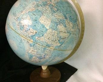"Vintage World Globe, Replogle World Nation Series,12 "" diameter globe,blue home decor,geography decor,made in USA,DIY globe"