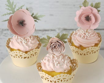 Cupcake Toppers, Flower Cupcakes, Flower Toothpicks, Cupcake Decorations, Floral Cake Topper, Flower Party, Floral Party, Paper Flowers