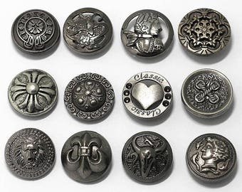 6 Pcs 0.67~0.71 Inches Retro Gun/Anti-silver Patterns Snap Fasteners Metal Shank Buttons For Down Jackets Coats Jeans
