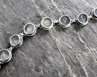 Typewriter Key Bracelet retro steampunk jewelry black antique vintage victorian up cycled repurposed