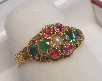 Antique 1870's 15K Hallmarked English Emerald, Tourmaline Pearl Ring Size 6 1/2