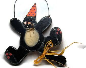 Black cat door sign - Door hanger  Halloween black cat - Halloween decoration