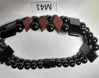 Men's black magnetic bracelet with goldstone diamonds and 5,000 gauss magnetic clasp