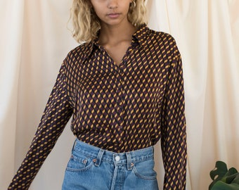 vintage abstract silk button down