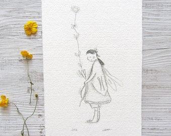 flower fairy drawing, original fairy illustration, fairy nursery art, faery drawing, fae art, whimsical artwork