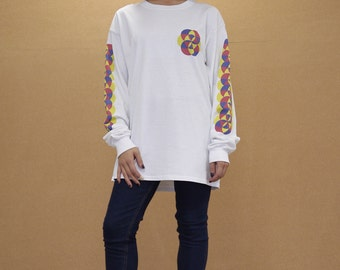 Colourful Bold 90s  Geometric Pattern  White Long Sleeved T-shirt 1015