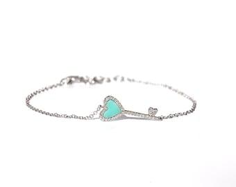 14K Diamond Turquoise Heart Bracelet