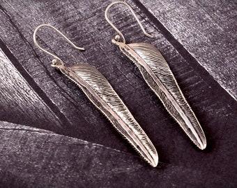 Bijoux ailes/plume de boucles d'oreilles 925 argent Sterling boucles d'oreilles oiseau