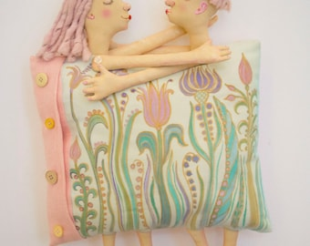 """Valentines Day Gift. Art Doll Pillow """"Tenderness""""  wall hanging, wall art. Wedding gift. Gift for couples. OOAK."""