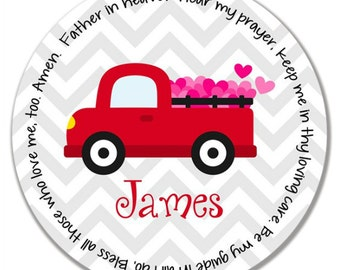 Personalized Melamine Plate - Personalized Kids Plate - Personalized Valentine's Day Plate - Kids Valentine Plate - Red Truck with Hearts