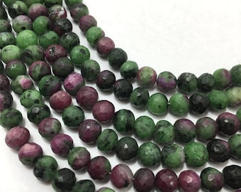 Natural Rubyziosite Faceted Round Beads 5.5mm to 6.5mm Beads, 8 inches Strand. Green Beads, Gemstone Beads, Semiprecious Stone Beads