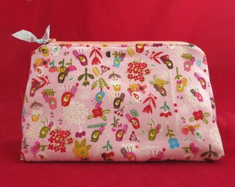 Cosmetic bag, Zipper pouch, Makeup bag, Cosmetic purse, Women purse, Singing Birds, Zipper Purse, Mother's day Gift, Gift for Her