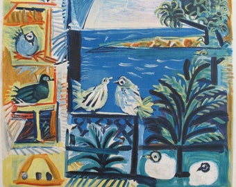 1961 Pablo Picasso Cote d'Azur Travel Poster, Vintage French Riviera - Original Picasso French Travel Poster