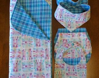 Baby Blanket, Bib and Burp Cloths Gift Set - Arrows and Plaids