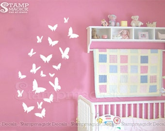 Butterflies Wall Decal for Baby Girl Nursery - butterfly bedroom vinyl wall art sticker decor - K102