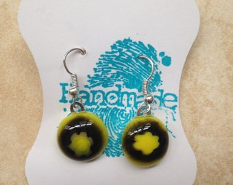 Handmade fused glass yellow with black millefiori flower dangle earrings