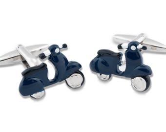Navy Blue Scooter Cufflinks