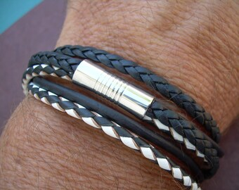 Mens Black and White Triple Strand Double Wrap Leather Bracelet, Stainless Steel Magnetic Clasp, Mens Jewelry, Mens Bracelet